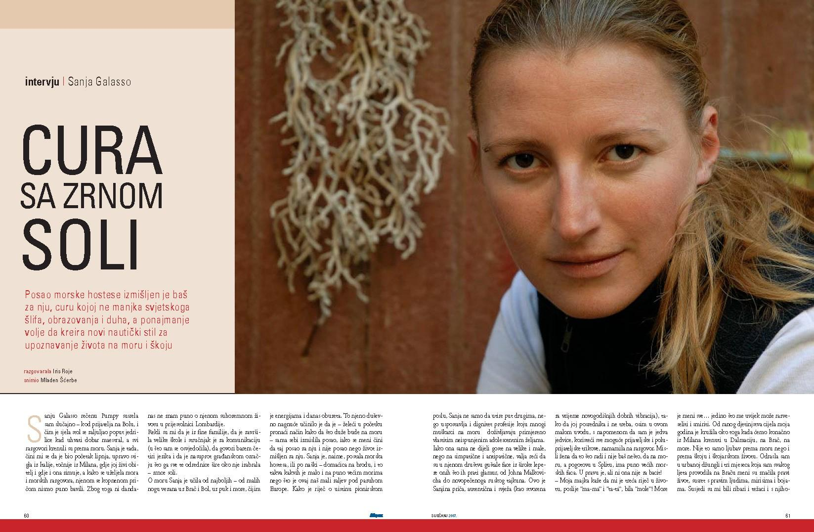 Interview with Sanja, published in magazine More (Sea)